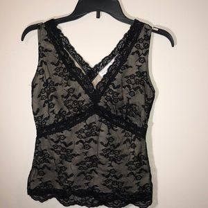 Worthington Stretch Cami!! Taupe with black Lace!!
